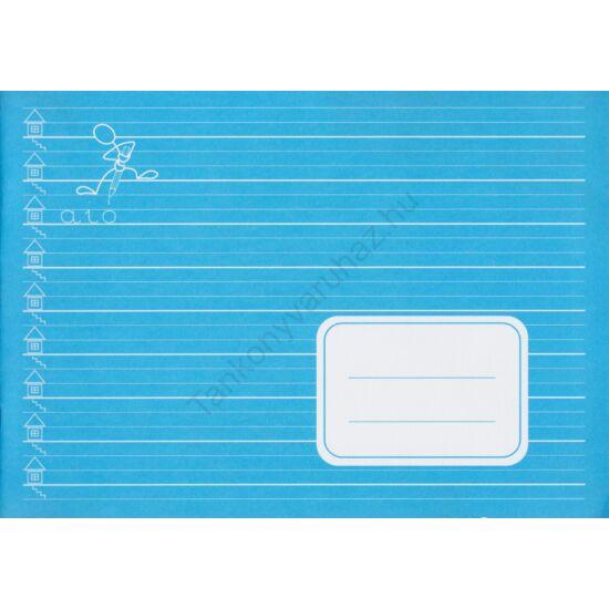 Fekvő formátumú széles vonalazású (7 mm) írásfüzet